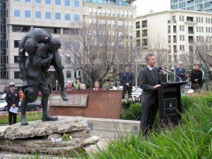 Speaking at the ceremony commemorating the centenary of the battle of Fromelles at the Shrine of Remembrance in Melbourne
